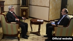 Armenia -- President Serzh Sargsian gives an interview to RFE/RL Armenian Service Director. 19Jan., 2013