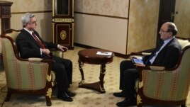 Armenia -- President Serzh Sarkisian gives an interview to RFE/RL Armenian Service Director Hrair Tamrazian, 19Jan2013