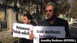 """""""Azadlıq"""" qəzeti kollektivinin etiraz aksiyası"""