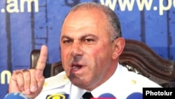 Armenia - Lieutenant-General Alik Sargsian, chief of the Armenian police, holds a news conference, 11Aug2011.