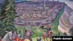 Себер ханлыгы башкаласы Искер шәһәре рәсеме