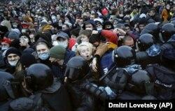 Протесты сторонников Алексея Навального в Петербурге. 23 января 2021 года