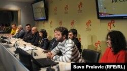 Organizatori protesta na konferenciji za novinare u Podgorici, 17. april 2012.