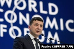 Президент України Володимир Зеленський виступає з промовою на щорічній зустрічі Всесвітнього економічного форуму (ВЕФ) у Давосі, 22 січня 2020 року