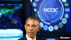 Barack Obama kiber təhlükəsizliklə bağlı çıxış edir, 13 yanvar, 2015