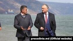 Președintele R. Moldova, Igor Dodon, şi liderul de la Tiraspol Vadim Krasnoselski, la Holercani. 3 martie 2017