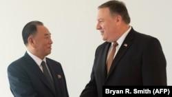 Солтүстік Корея басшысының кеңесшісі Ким Ен Чхоль (сол жақта) мен АҚШ мемлекеттік хатшысы Майк Помпео. Нью-Йорк, 31 мамыр 2018 жыл.