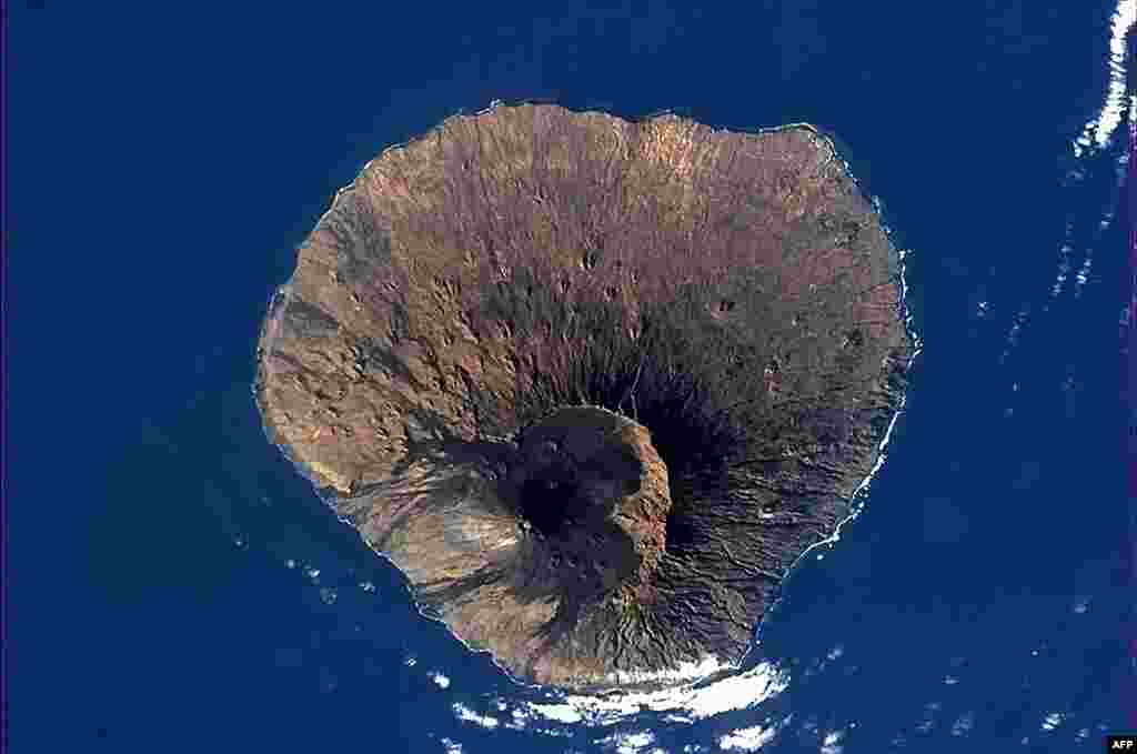 A NASA image shows the inactive volcano in Fogo National Park on Cape Verde, off the west African coast. (AFP/NASA/Chris Hadfield)