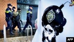 Poliția olandeză reținând un bărbat în timpul unui protest anti-islamizare la Apeldoorn, 17 ianuarie 2016