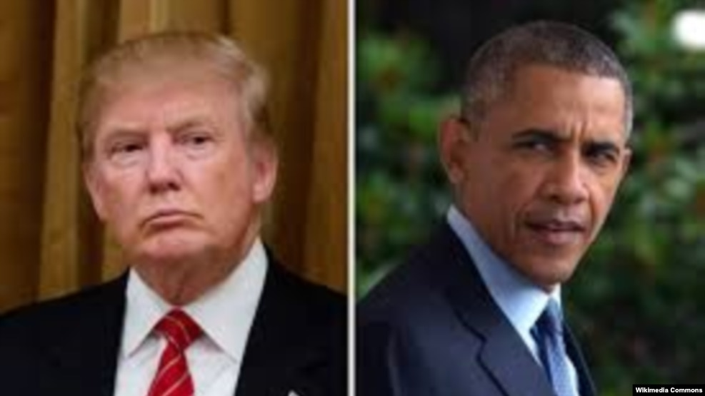 U.S. President Barack Obama (L) took a veiled shot at his successor Donald Trump's promises to eliminate the Islamic State group.