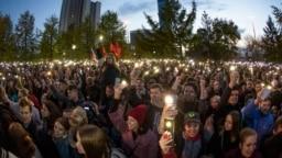 Izgleda da se znak referira na spor oko planova za izgradnju ruske pravoslavne katedrale u parku u Jekaterinburgu, što je izazvalo velike proteste. (datoteka fotografije)