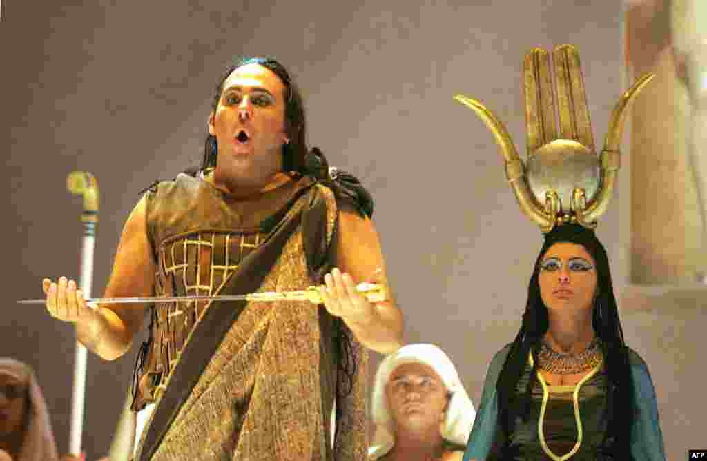 "A scene from ""Aïda"" performed in 2005 in Nice, France."