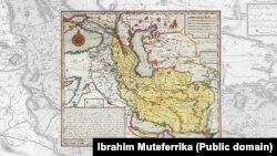 نقشه ابراهیم متفرقه عثمانی از «ممالک ایران»، حدودا سال ۱۷۲۹ میلادی (تقریبا هفتاد سال پس از اولیاء چلبی)، استانبول