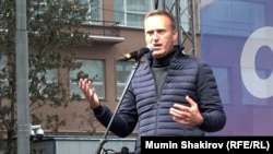 Aleksei Navalny, Vladimir Putin's most prominent opponent in recent years, attends a protest rally on September 29 in Moscow.