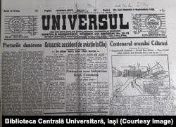 """Ziarul """"Universul"""". Sursă: Biblioteca Centrală Universitară, Iași"""