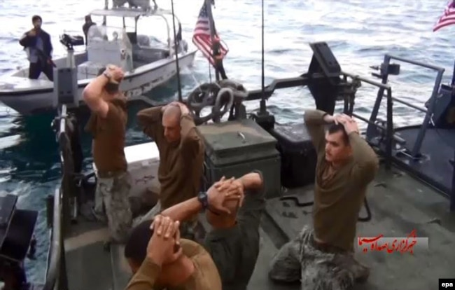 U.S. military personnel are shown on their boat after they were captured by IRGC forces in the Persian Gulf in January 2016.