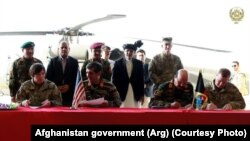 FILE. A ceremony marking the handover of Black Hawk helicopters by the United States to Afghanistan in October 2017.