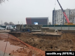 Обвал грунта на строящемся участке Юнусабадской линии Ташкентского метрополитена. Декабрь, 2019 года.