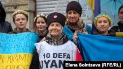 Протест крымских татар в Стамбуле 8 марта 2014