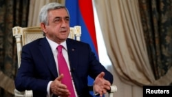 Armenia -- Armenian President Serzh Sarkisian speaks during an interview with Reuters at his office in Yerevan, June 25, 2016