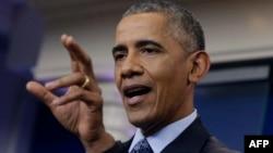 ABŞ-nyň prezidenti Barak Obama metbugat ýygnagynda çykyş edýär. 18-nji ýanwar, 2017 ý.
