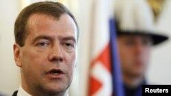 Президент Росії Дмитро Медведєв під час візиту до Словаччини. Братислава, 7 квітня 2010 року