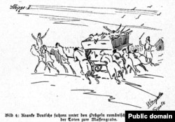 Ultimul drum: spre groapa comună. Crochiu în Hans Krieger, Der Massenmord an deutschen und österr.-ung. Soldaten..., 1920.