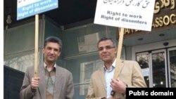 حکم دادگاه به رضا خندان (راست) و فرهاد میثمی در زندان ابلاغ شده است. (عکس از آرشیو)