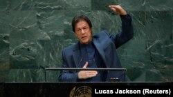 عمران خان د ملګرو ملتونو غونډې ته وینا کوي.