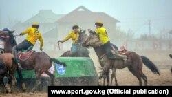 Игроки сборной Чуйской области в финале чемпионата Кыргызстана по кок-бору. Ош, 3 ноября 2018 года.
