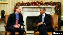 Президент США Барак Обама и принц Уильям (слева). Вашингтон, 8 декабря 2014 года.