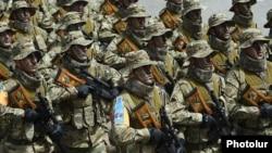 Armenia - Armenian special forces march during a military parade at the Sardarapat war memorial, 28May2016.