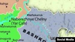 Татарстан һәм Башкортстан чиге харитасы