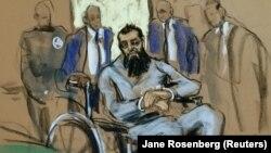 Сайфулло Саипов на заседании суда в Нью-Йорке 1 ноября. Судебная зарисовка