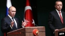 Ռուսաստանի և Թուրքիայի նախագահներ Վլադիմիր Պուտինի և Ռեջեփ Էրդողանի համատեղ ասուլիսը Անկարայում բանակցություններից հետո, 1-ը դեկտեմբերի, 2014թ․