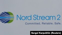 The logo of the Nord Stream-2 gas pipeline project