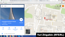 Скриншот карты Google