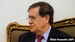 U.S. acting Assistant Secretary of State David Satterfield speaks during a meeting at the Lebanese Foreign Ministry in Beirut on February 7, 2018.