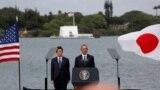 Ýaponiýanyň premýer-ministri Şindzo Abe (ç) we ABŞ-nyň prezidenti Barak Obama (s), Pearl Harbor, ABŞ, 27-nji dekabr, 2016.