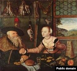 Люкас Кранах Старэйшы, «Заплата (Мэзальянс)» (1532)