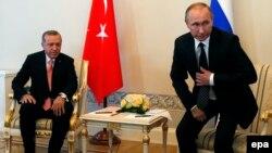 Встреча Владимира Путина и Реджепа Эрдогана в Петербурге 9 августа 2016 года