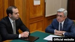 Armenia -- President Serzh Sarkisian talks to the newly appointed National Service Chief Georgi Kutoyan, 12Feb2016