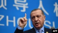 Реджеп Тайїп Ердоган на прес-конференції, Ханчжоу, 5 вересня 2016 року