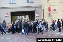 Беларусские студенты-участники забастовки, 26 октября 2020 года, Минск