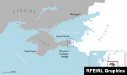 Zemljopisni prikaz tjesnaca Kerč (u sredini)