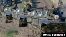 Nagorno-Karabakh -- Troops leave a Karabakh Armenian military base at the start of exercises, September 24, 2019.