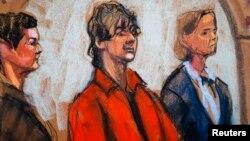 Зарисовка из зала суда, где рассматривается дело Джохара Царнаева (в центре). Бостон, 10 июля 2013 года.