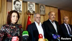 Представители Национального квартета за диалог в Тунисе на пресс-конфренции, 21 сентября 2013