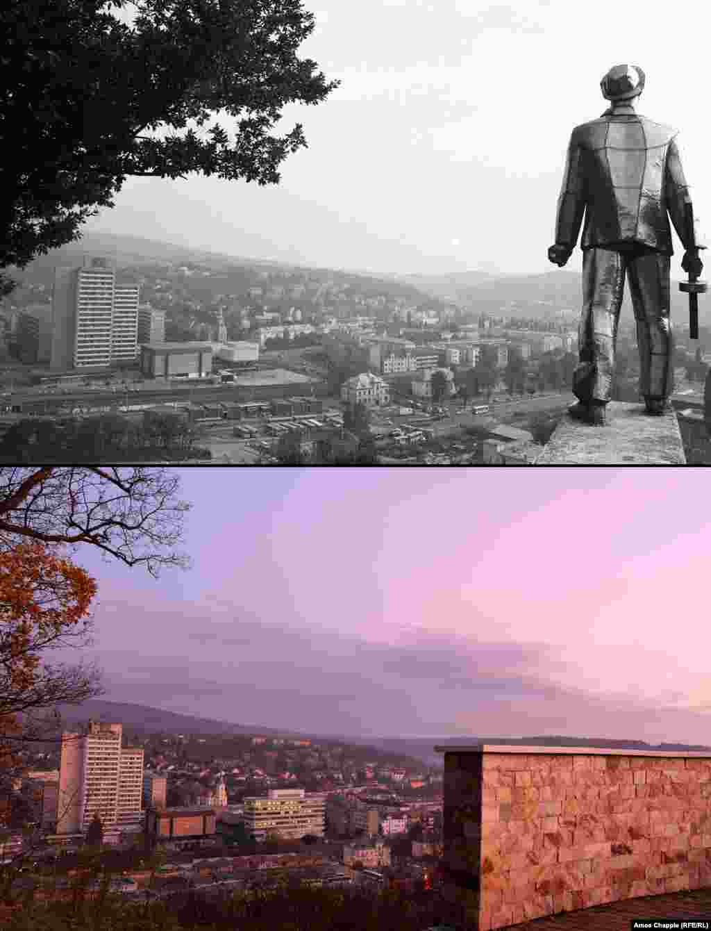 Salgotarjan 1982 - 2019 A five-meter chromed steel monument to a World War II partisan fighter on a hilltop overlooking Salgotarjan (top). The monument was removed in 1993 and now stands in a far less prominent spot outside the town center. On the site of the gleaming partisan is a lookout platform topped with a Hungarian flag. 1982 photo: Fortepan/Magyar Rendor