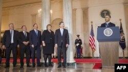Pamje pas takimit të presidentit amerikan, Barack Obama, dhe pesë liderëve të vendeve të rajonit nordiko-baltik.